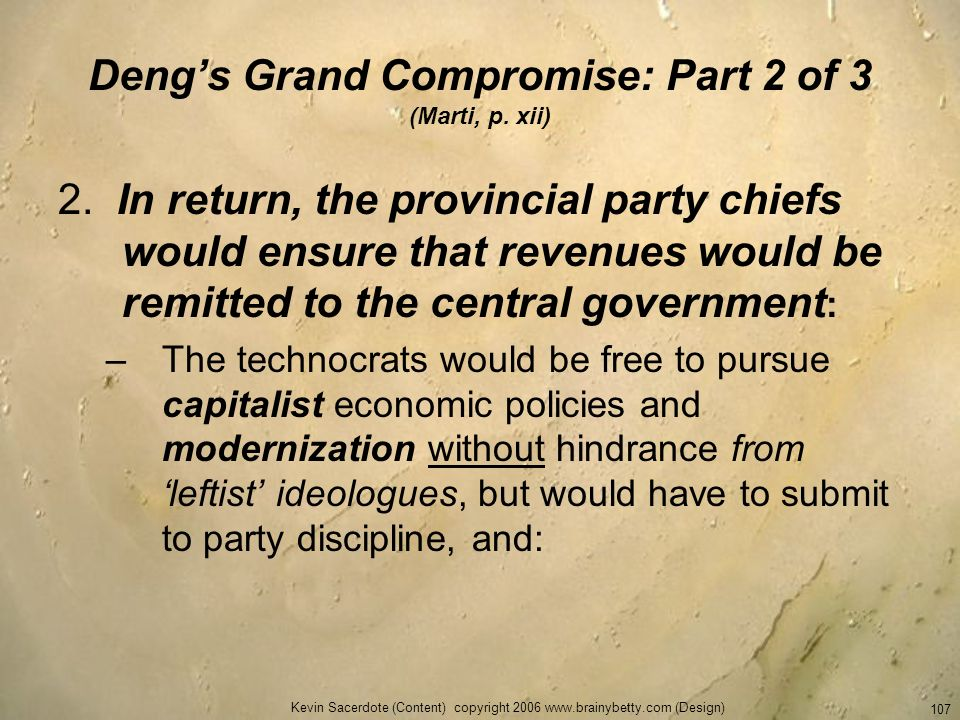 Deng's Grand Compromise: Part 2 of 3 (Marti, p. xii)