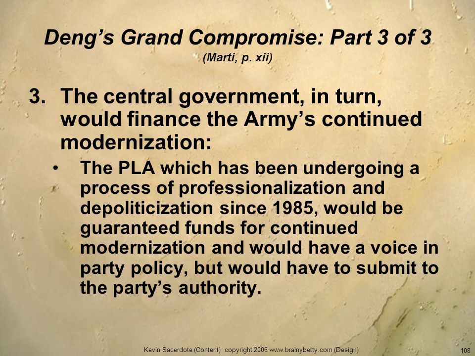 Deng's Grand Compromise: Part 3 of 3 (Marti, p. xii)
