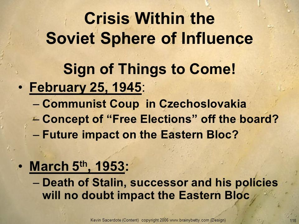 Crisis Within the Soviet Sphere of Influence