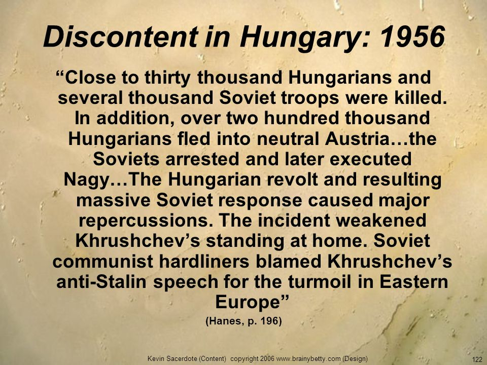 Discontent in Hungary: 1956