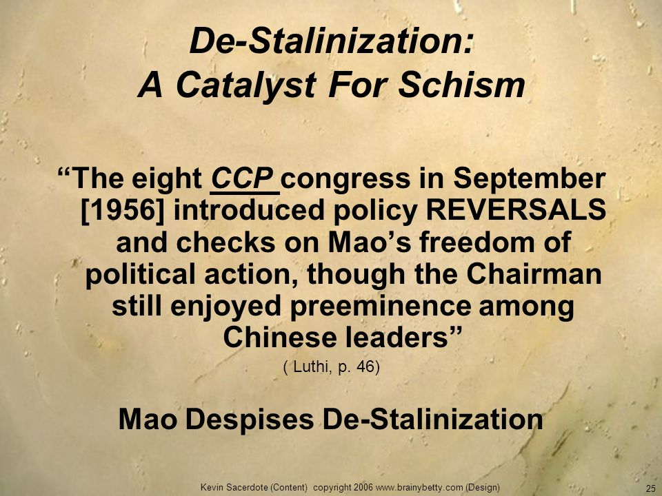 De-Stalinization: A Catalyst For Schism