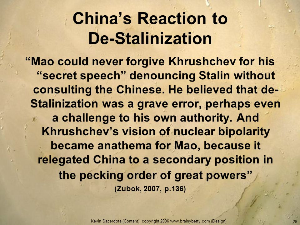 China's Reaction to De-Stalinization