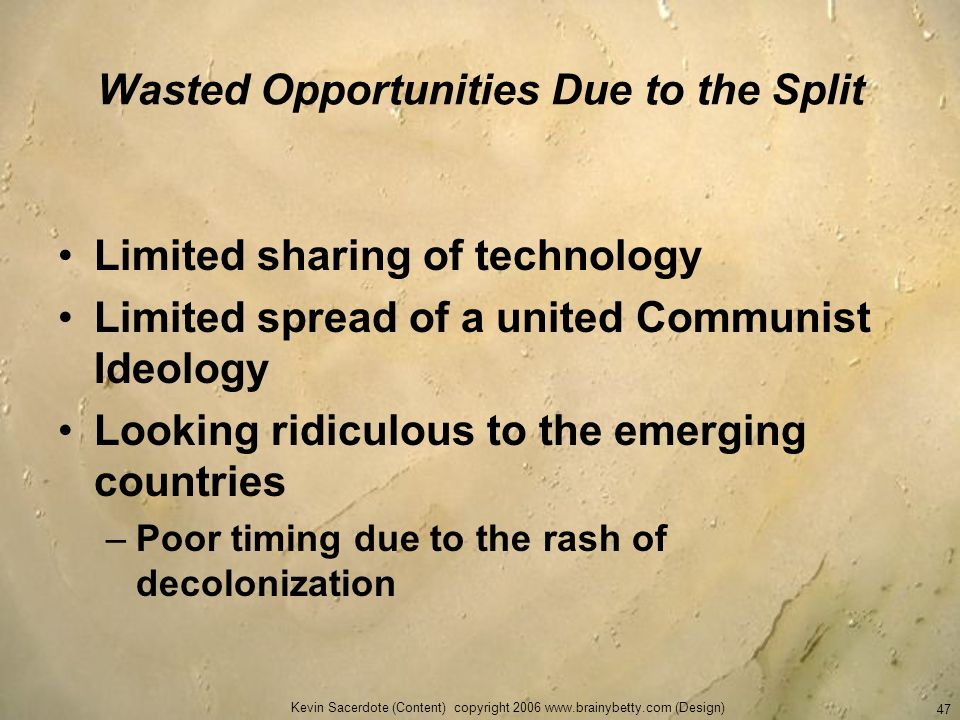 Wasted Opportunities Due to the Split
