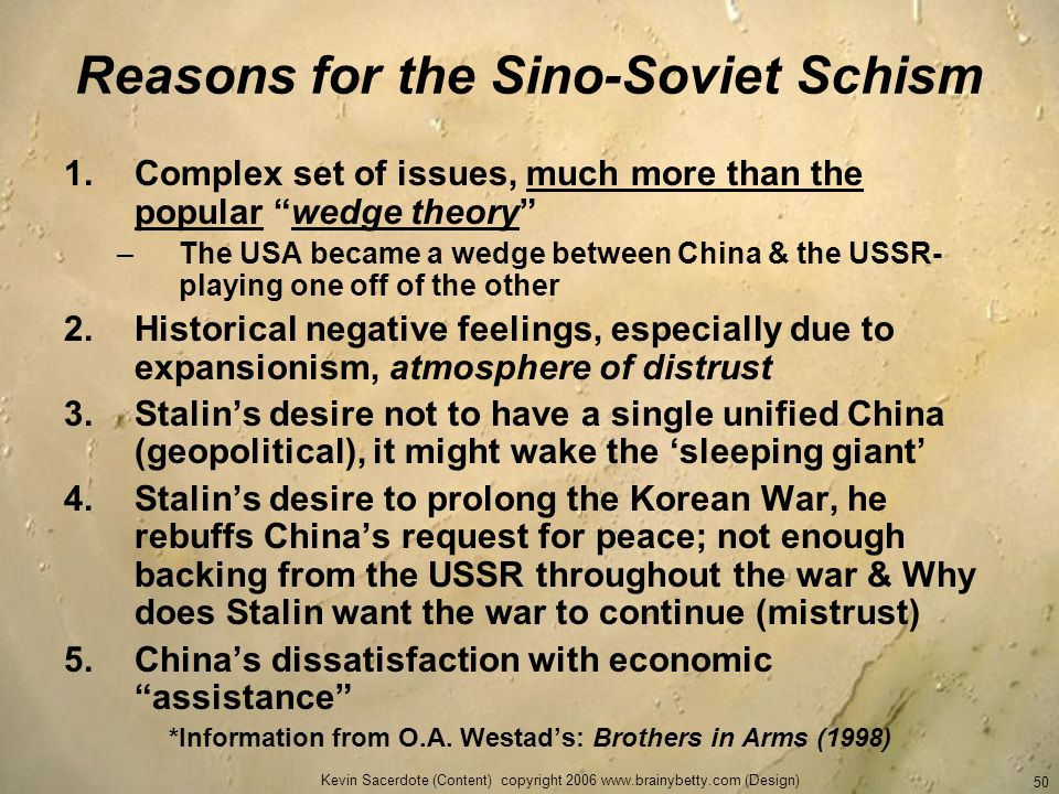 Reasons for the Sino-Soviet Schism