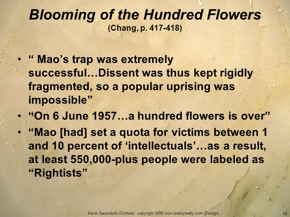 Blooming of the Hundred Flowers (Chang, p. 417-418)