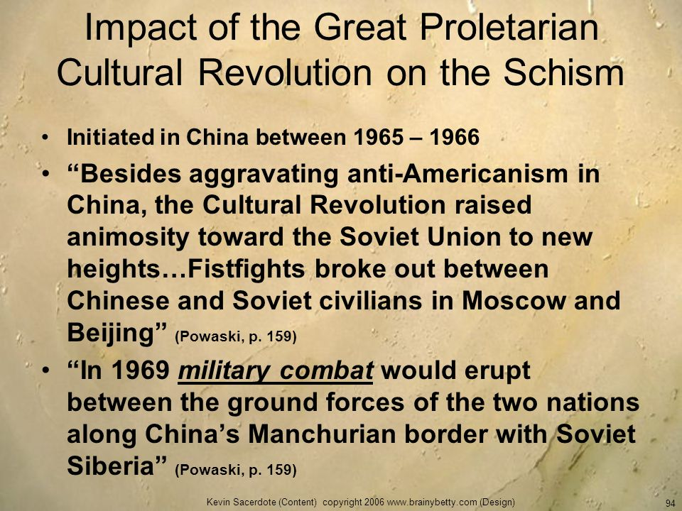Impact of the Great Proletarian Cultural Revolution on the Schism