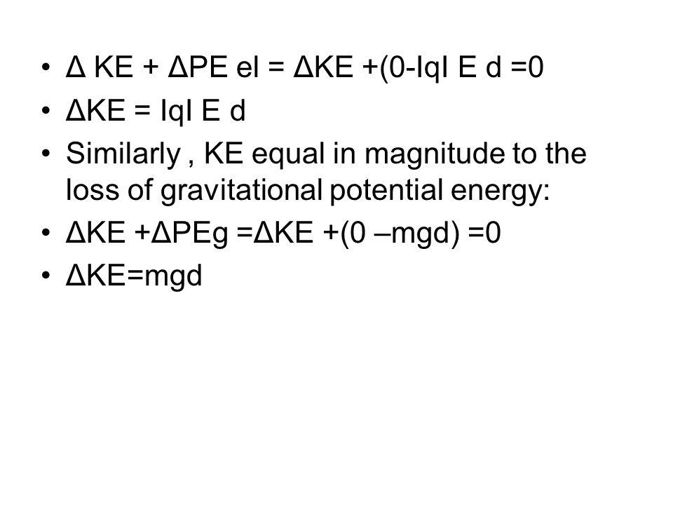 Δ KE + ΔPE el = ΔKE +(0-ΙqΙ E d =0