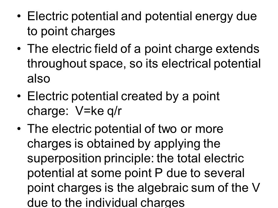 Electric potential and potential energy due to point charges
