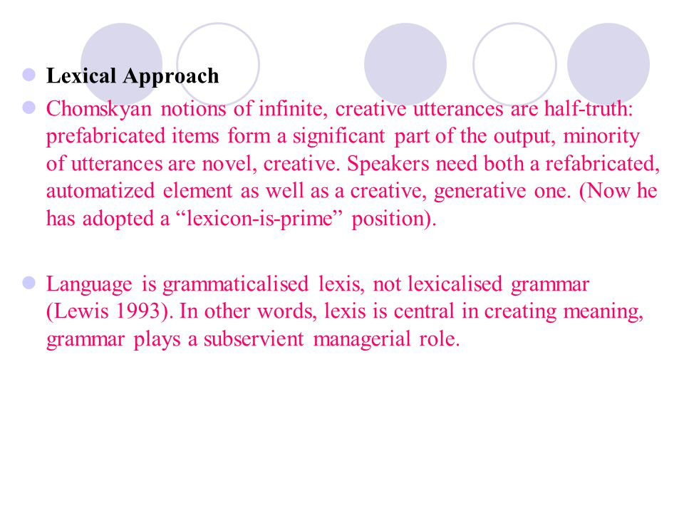 Lexical Approach