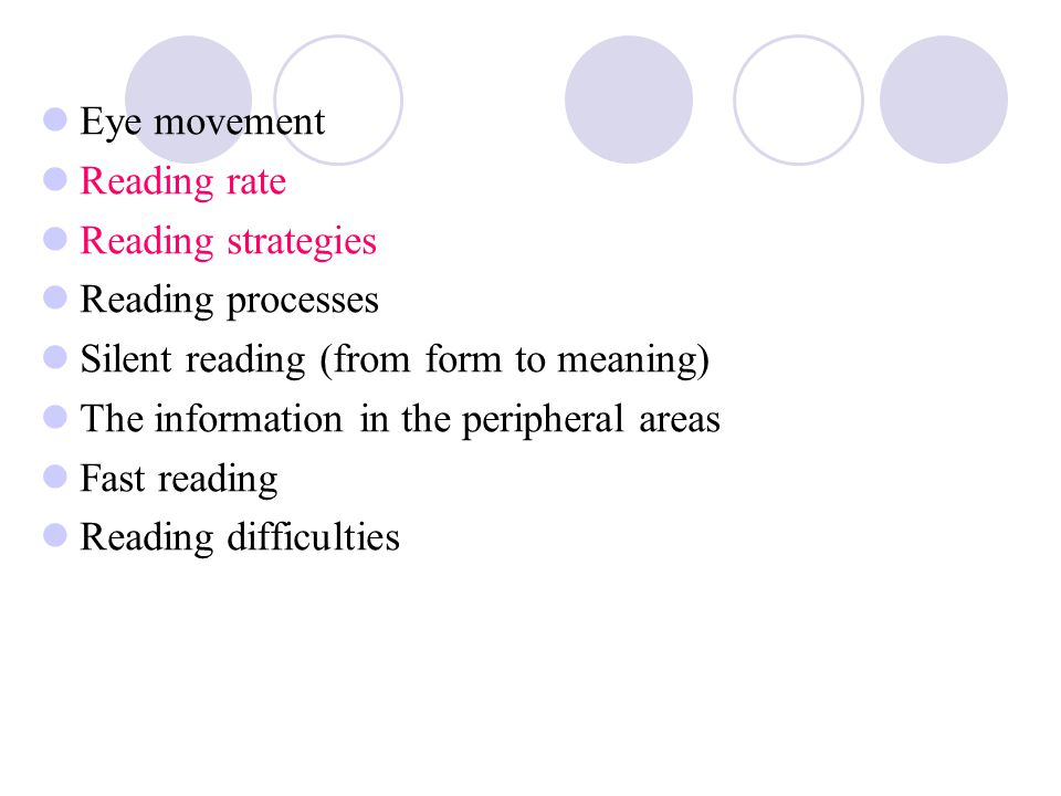 Eye movement Reading rate. Reading strategies. Reading processes. Silent reading (from form to meaning)