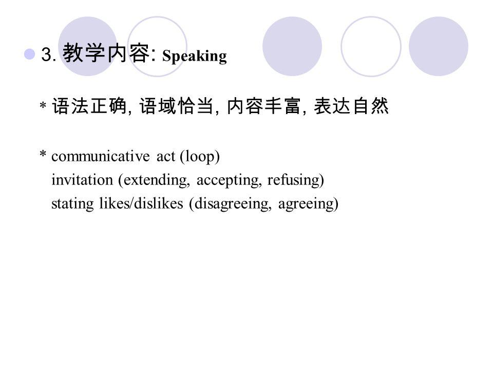 3. 教学内容: Speaking * 语法正确, 语域恰当, 内容丰富, 表达自然 * communicative act (loop)