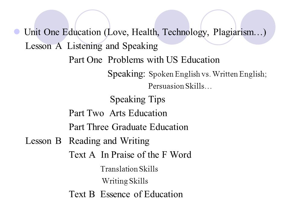 Unit One Education (Love, Health, Technology, Plagiarism…)