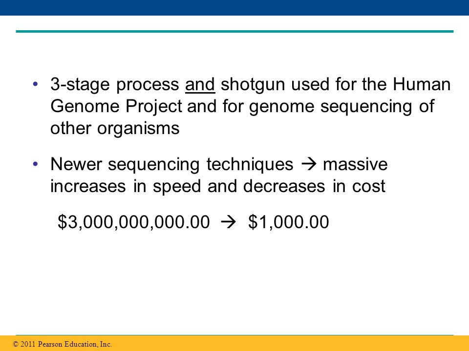 3-stage process and shotgun used for the Human Genome Project and for genome sequencing of other organisms