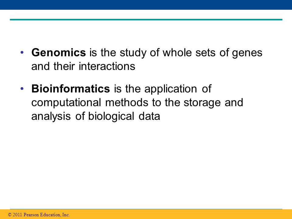 Genomics is the study of whole sets of genes and their interactions