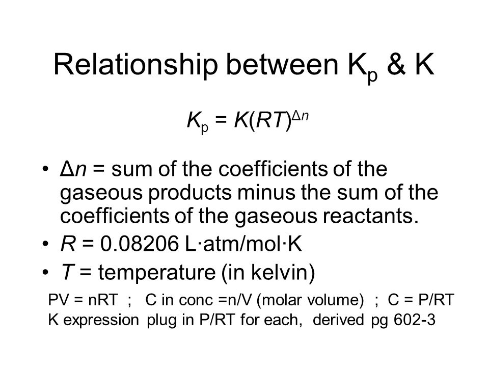 Relationship between Kp & K