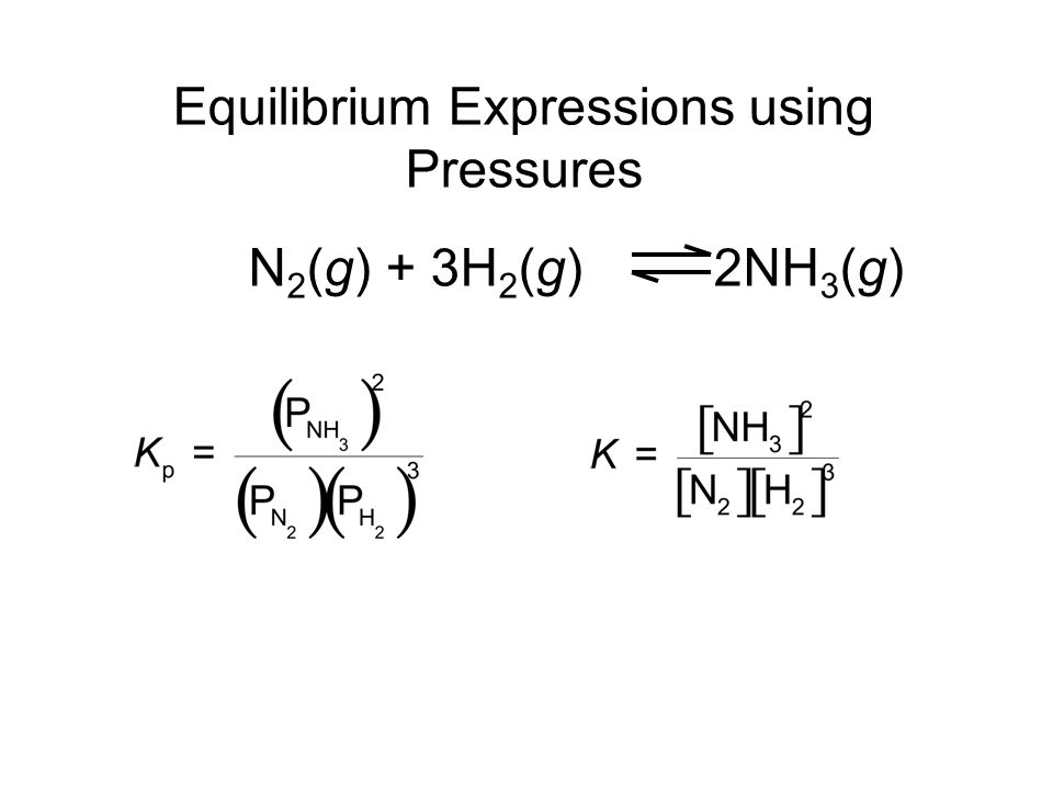 Equilibrium Expressions using Pressures