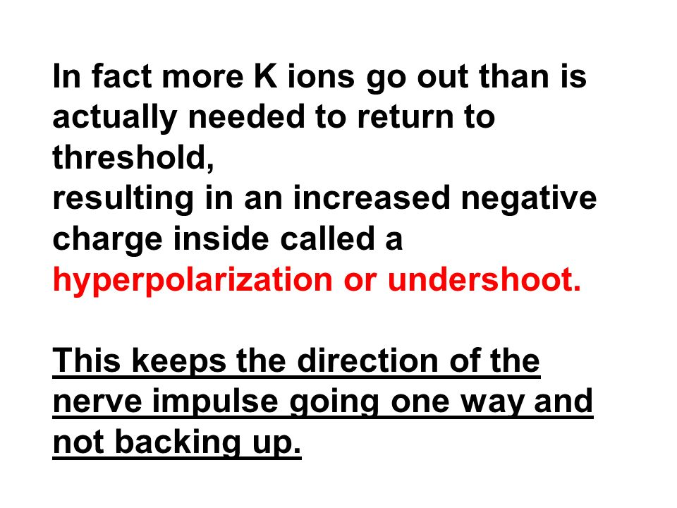 In fact more K ions go out than is actually needed to return to threshold,