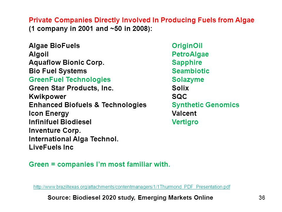 Private Companies Directly Involved In Producing Fuels from Algae