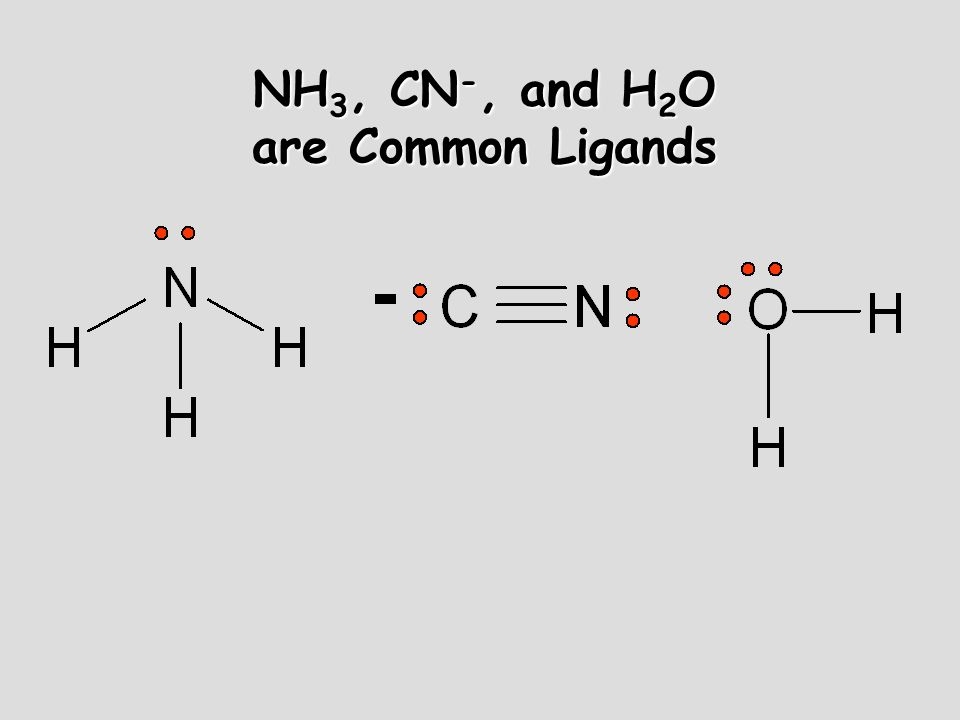 NH3, CN-, and H2O are Common Ligands