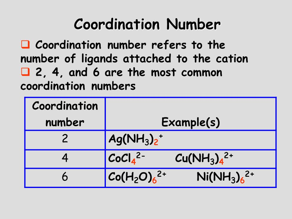 Coordination Number Coordination number refers to the number of ligands attached to the cation. 2, 4, and 6 are the most common coordination numbers.