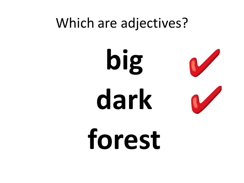 Which are adjectives big dark forest
