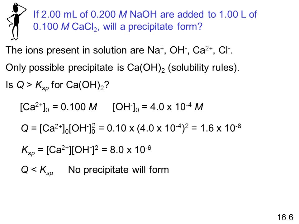 The ions present in solution are Na+, OH-, Ca2+, Cl-.