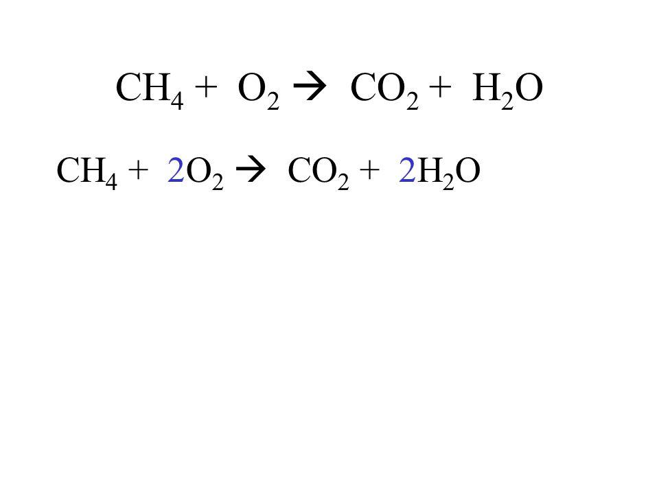 CH4 + O2  CO2 + H2O CH4 + 2O2  CO2 + 2H2O