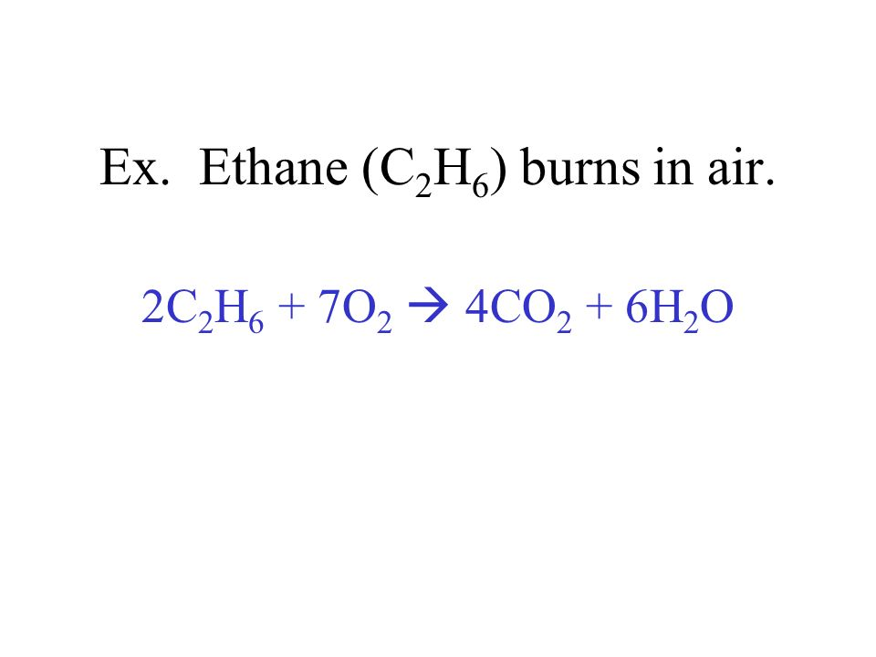 Ex. Ethane (C2H6) burns in air.