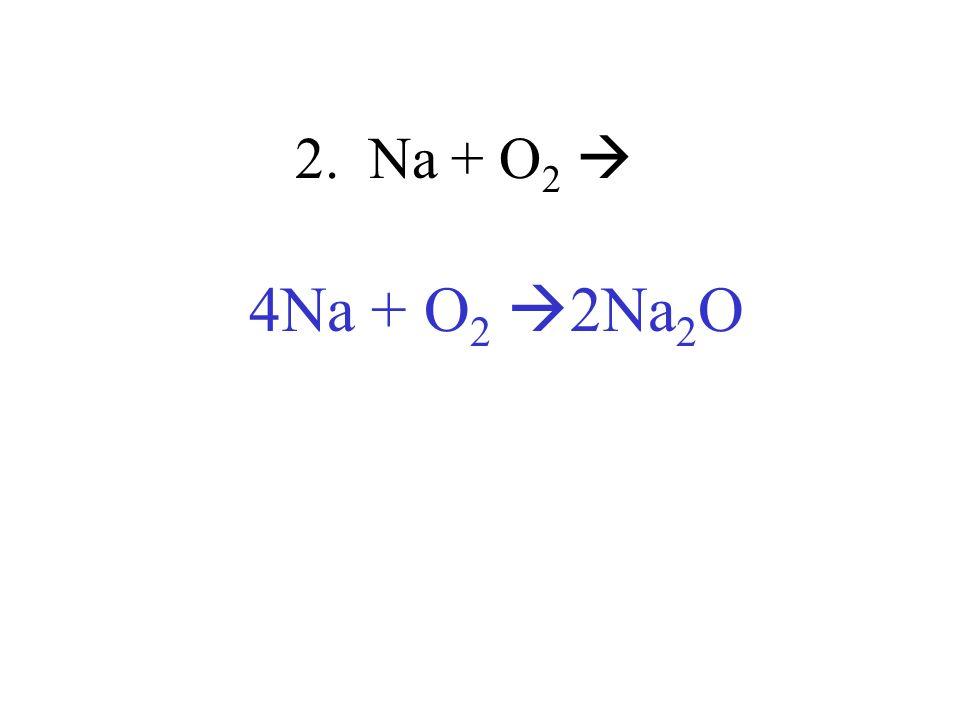 2. Na + O2  4Na + O2 2Na2O