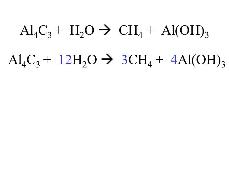 Al4C3 + H2O  CH4 + Al(OH)3 Al4C3 + 12H2O  3CH4 + 4Al(OH)3