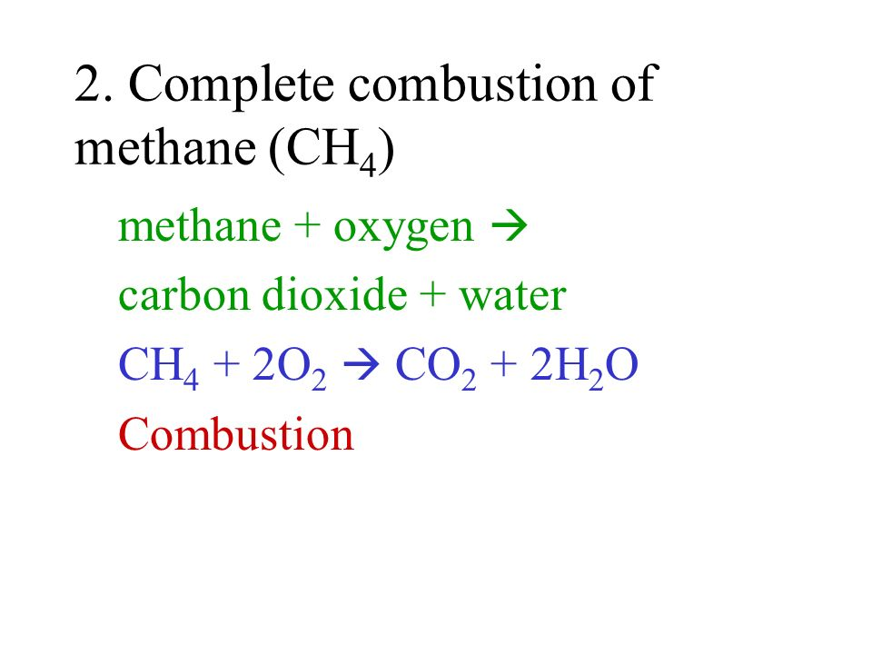 2. Complete combustion of methane (CH4)