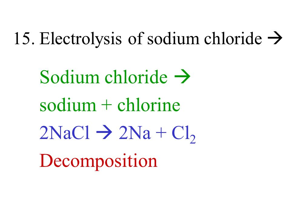 15. Electrolysis of sodium chloride 