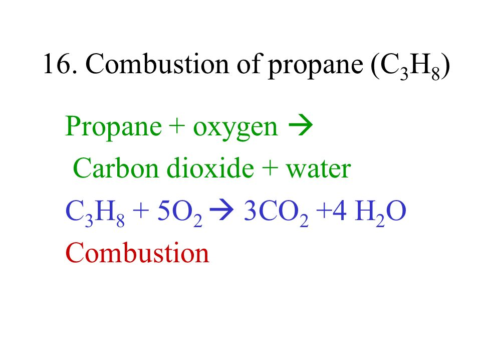 16. Combustion of propane (C3H8)