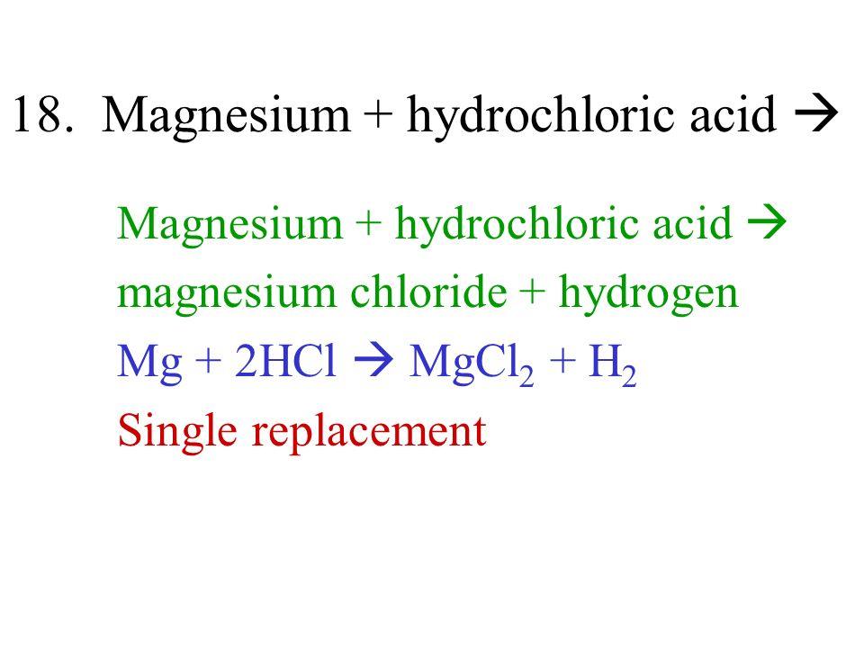18. Magnesium + hydrochloric acid 