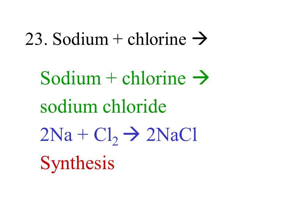 Sodium + chlorine  sodium chloride 2Na + Cl2  2NaCl Synthesis