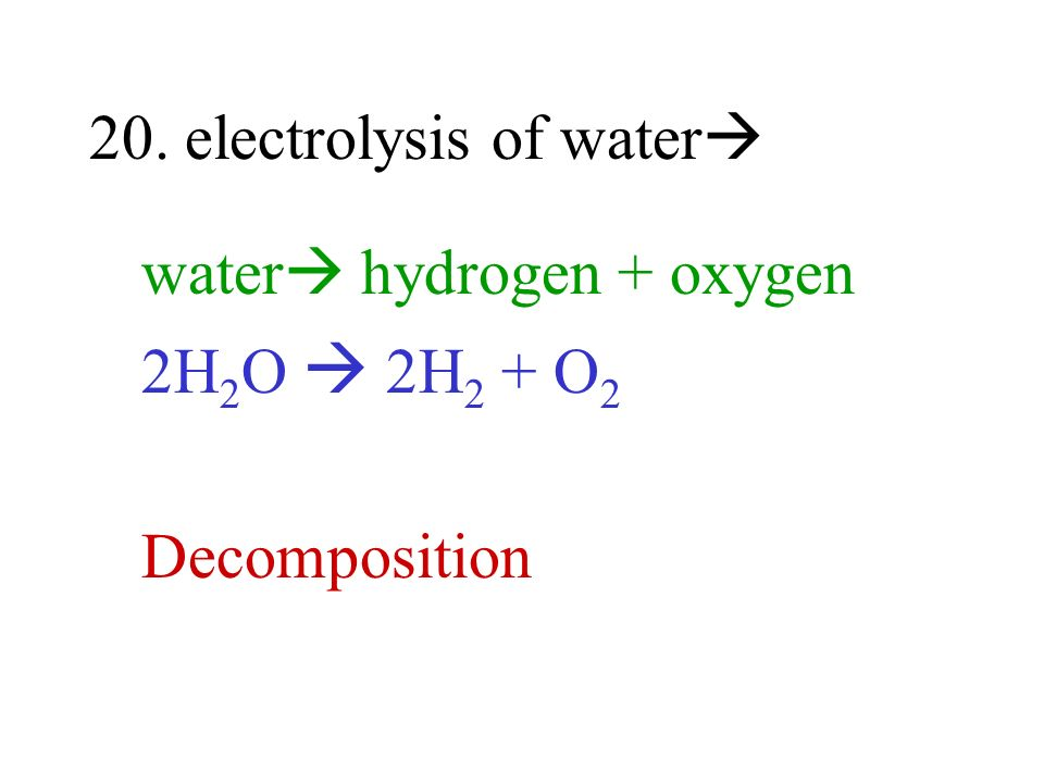 20. electrolysis of water