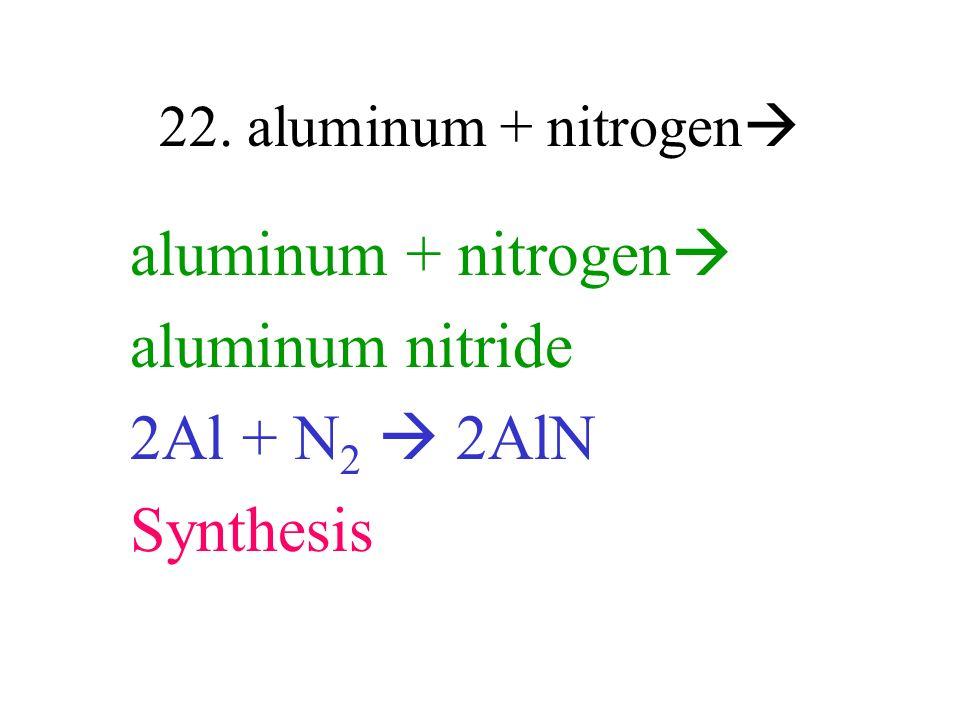 aluminum + nitrogen aluminum nitride 2Al + N2  2AlN Synthesis