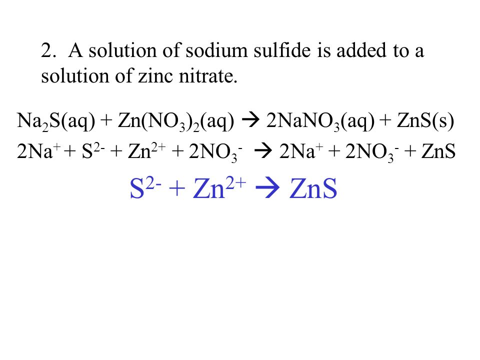 2. A solution of sodium sulfide is added to a solution of zinc nitrate.