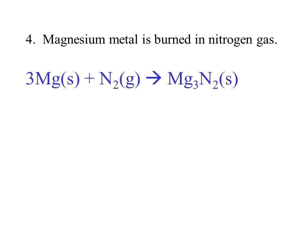 4. Magnesium metal is burned in nitrogen gas.