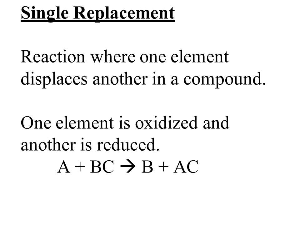 Single Replacement Reaction where one element displaces another in a compound.
