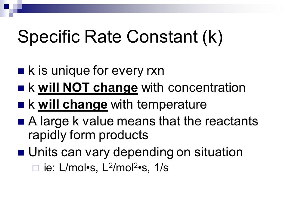 relationship between specific rate constant and temperature
