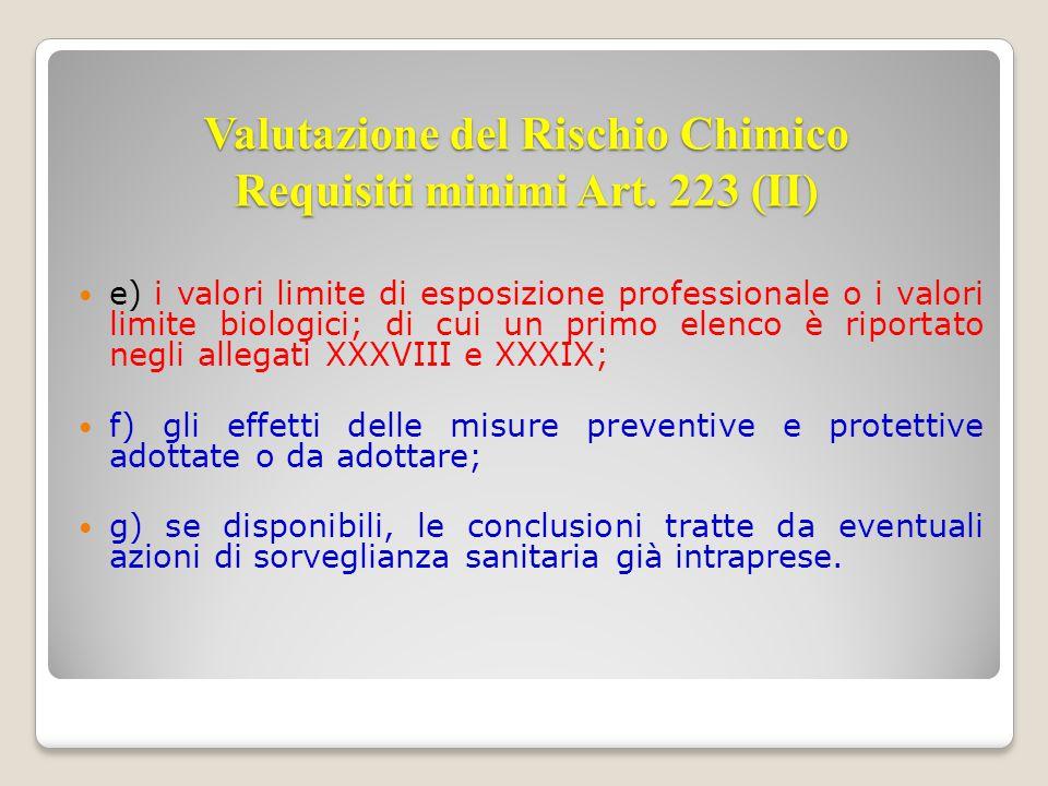 Valutazione del Rischio Chimico Requisiti minimi Art. 223 (II)