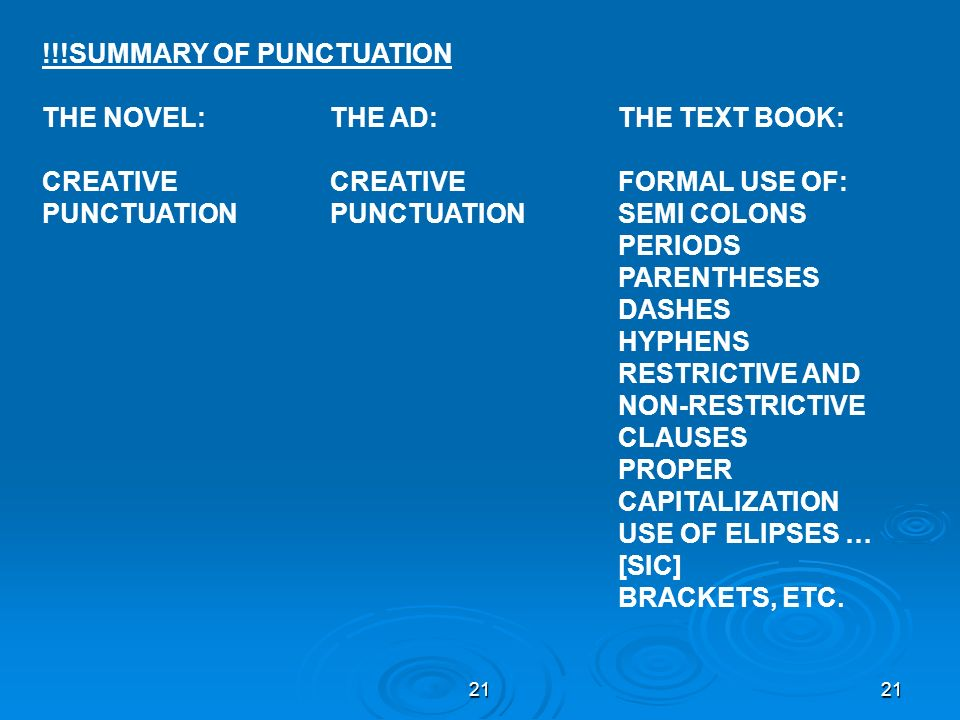 !!!SUMMARY OF PUNCTUATION THE NOVEL: THE AD: THE TEXT BOOK: