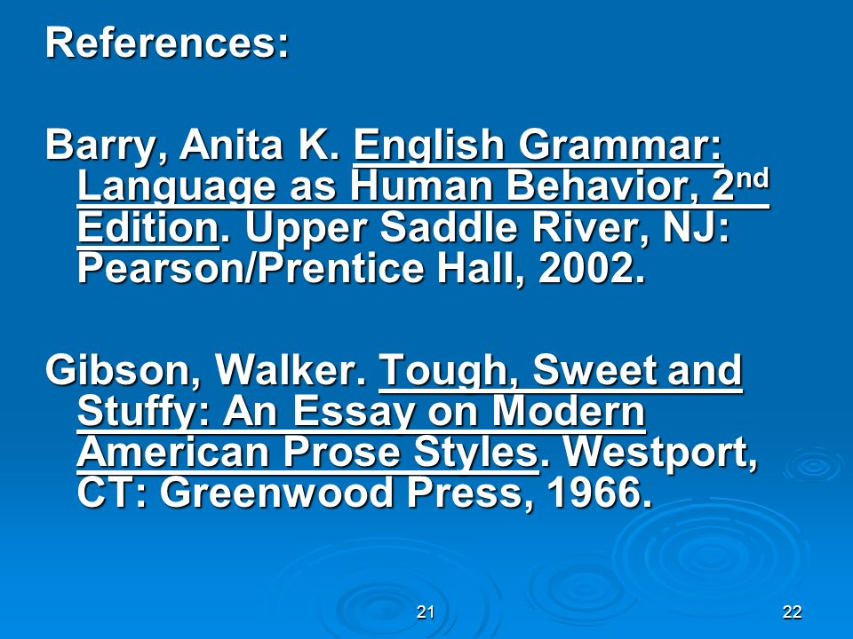 References: Barry, Anita K. English Grammar: Language as Human Behavior, 2nd Edition. Upper Saddle River, NJ: Pearson/Prentice Hall, 2002.