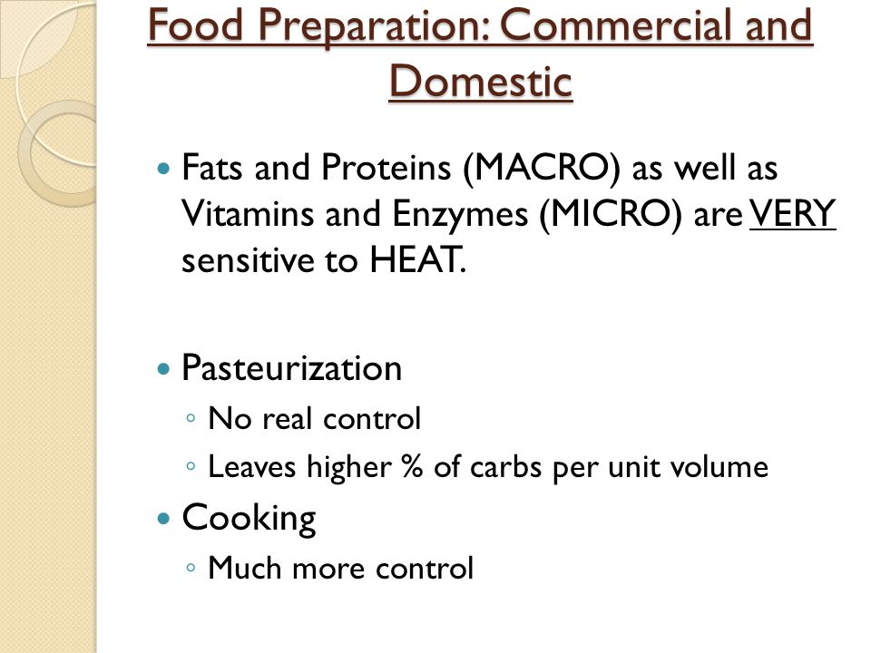 Food Preparation: Commercial and Domestic
