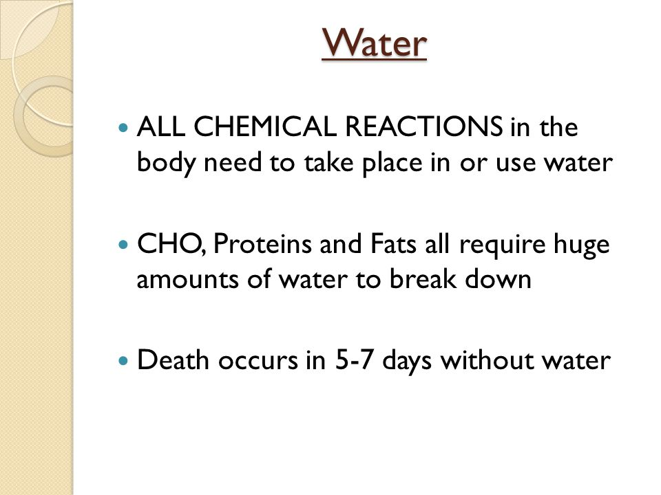 Water ALL CHEMICAL REACTIONS in the body need to take place in or use water.