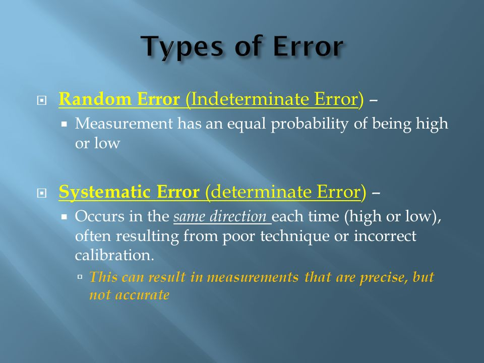 Types of Error Random Error (Indeterminate Error) –