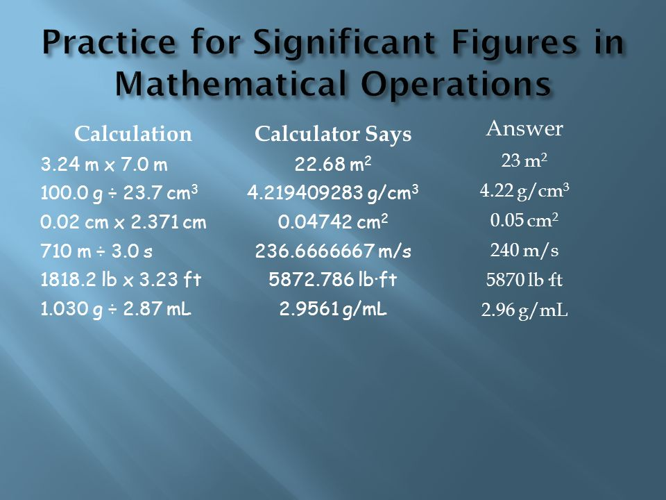 Practice for Significant Figures in Mathematical Operations