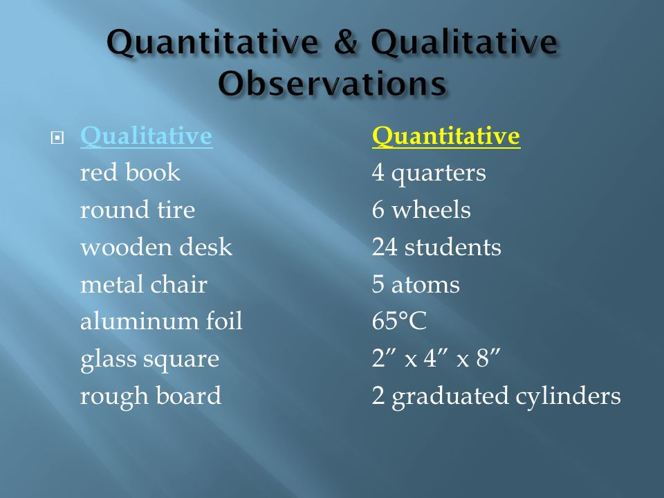 Quantitative & Qualitative Observations