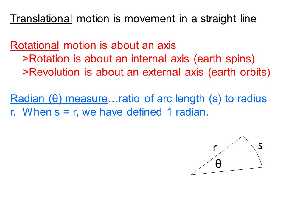 s r θ Translational motion is movement in a straight line
